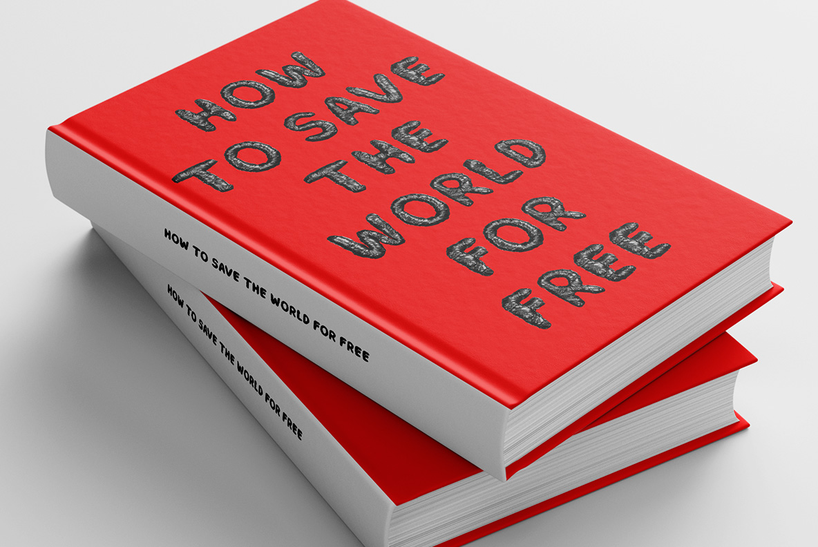 Book cover with Black Garbage Bag Font. Trash OpenType Typeface Made By Handmade Font