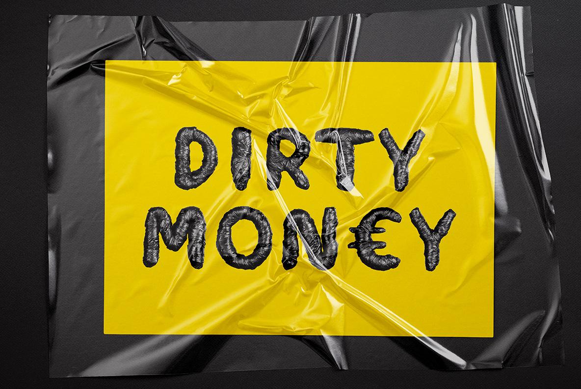 Mockup with Black Garbage Bag Font. Trash OpenType Typeface Made By Handmade Font