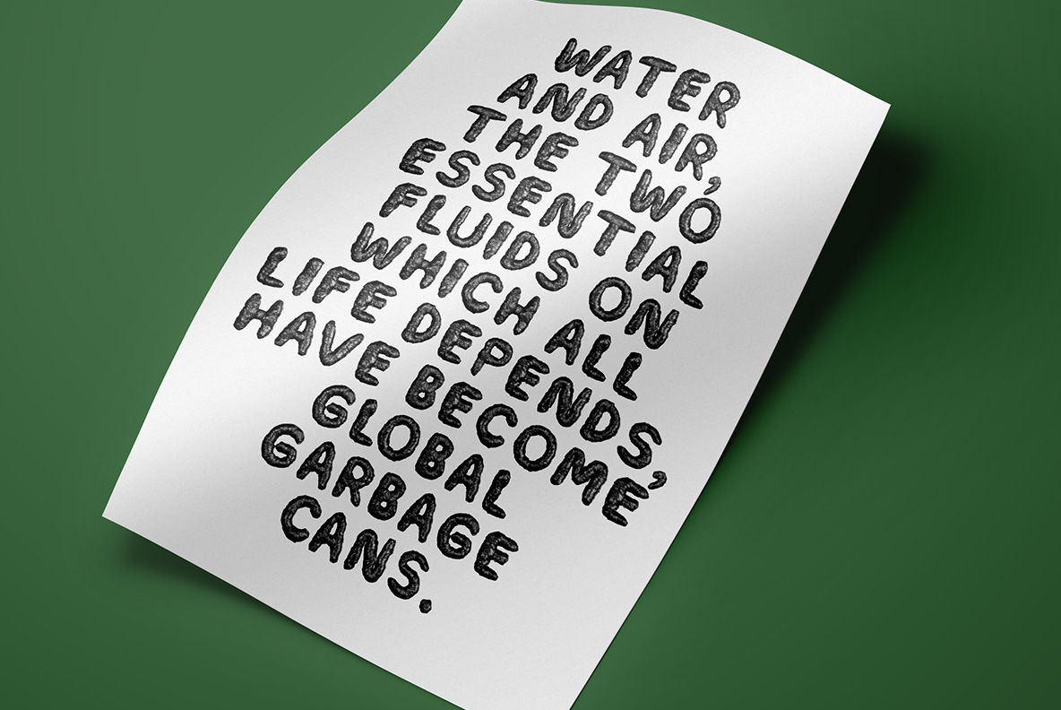 Poster with Black Garbage Bag Font. Trash OpenType Typeface Made By Handmade Font