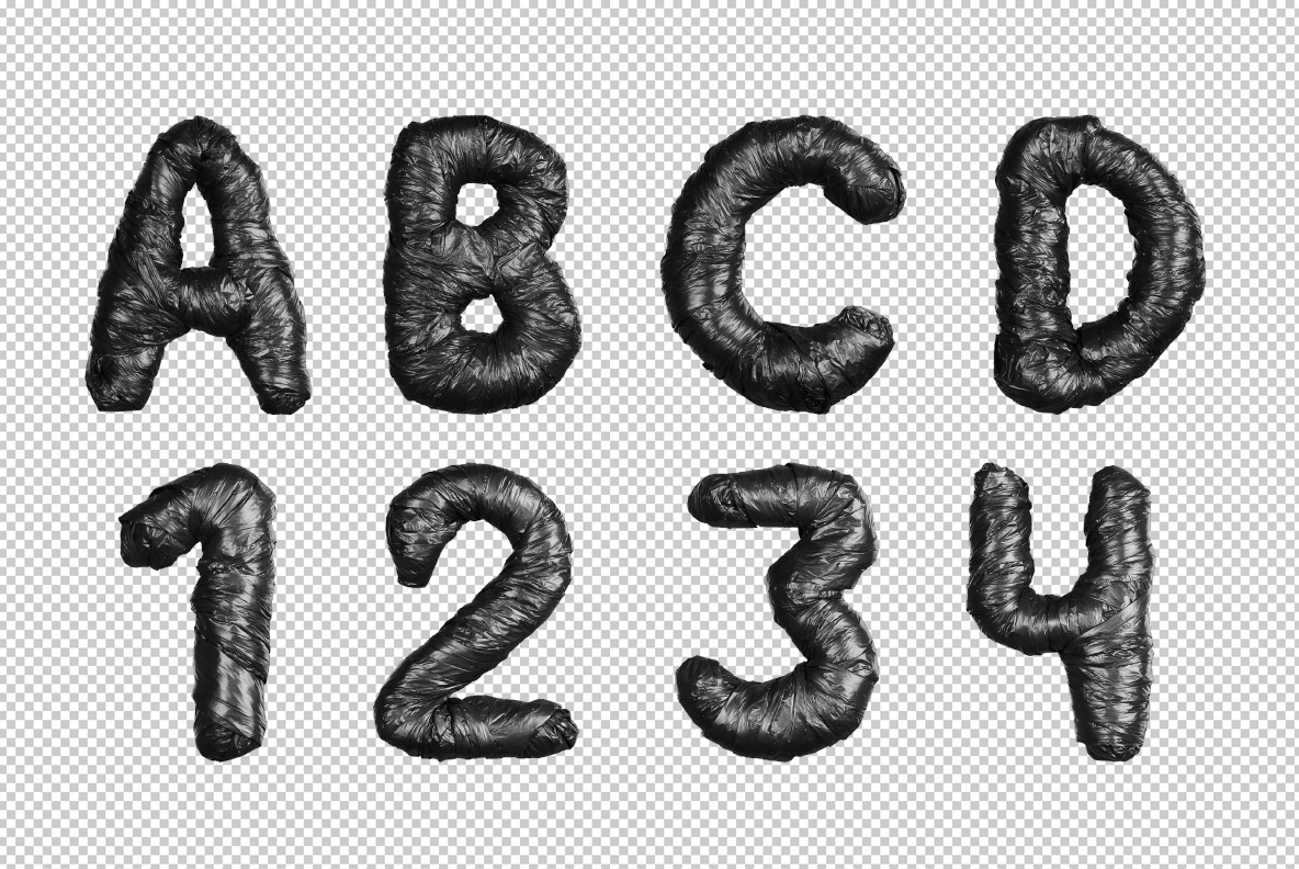 Photoshop test with Black Garbage Bag Font. Trash OpenType Typeface Made By Handmade Font