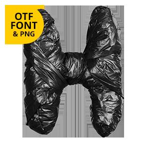 Letter H. Black Garbage Bag Font - Trash OpenType Typeface Made By Handmade Font.