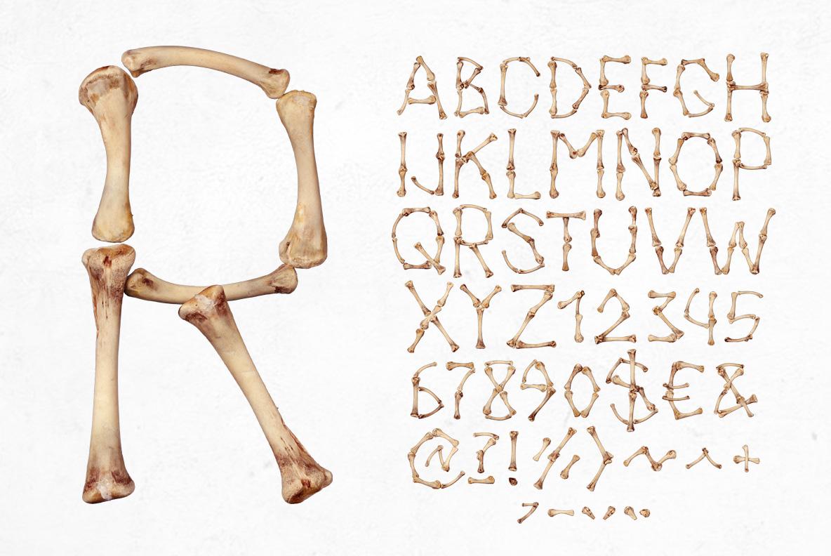 Chicken Bones OpenType SVG Font alphabet
