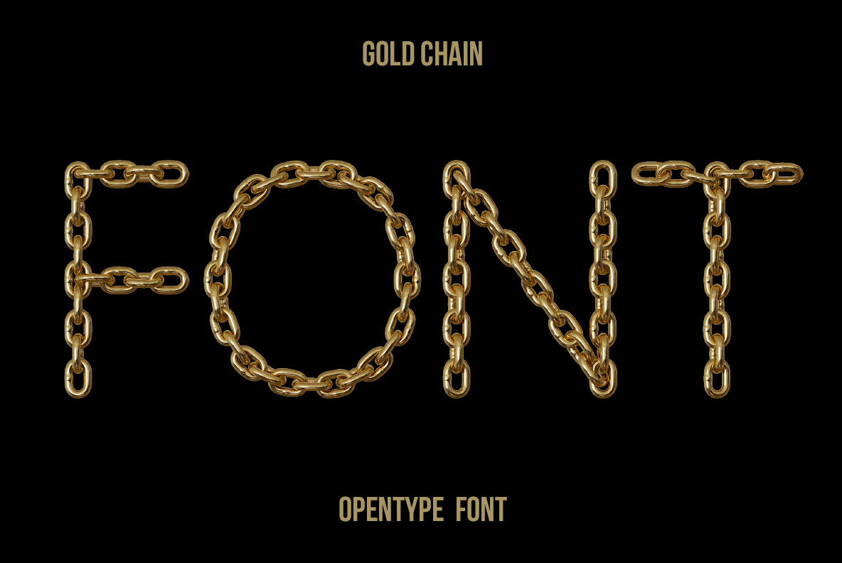 Cover of the Gold Chain Font. Glamorous OpenType Typeface Made By Handmade Font