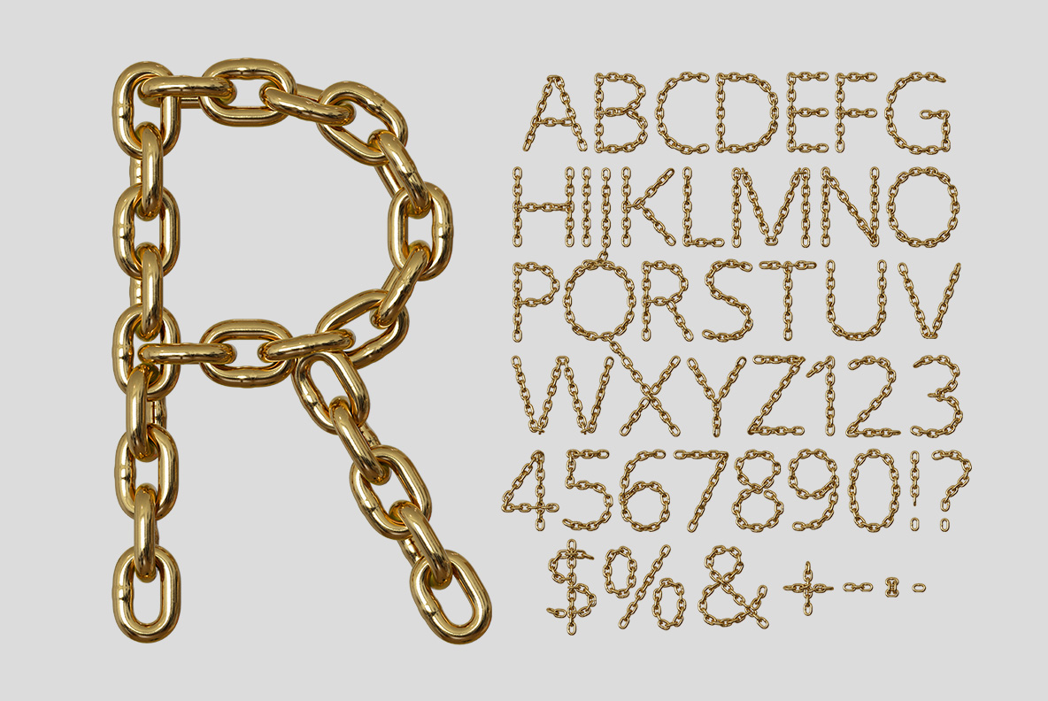 Alphabet of the Gold Chain Font. Glamorous OpenType Typeface Made By Handmade Font