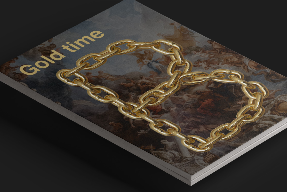 Magazine cover with Gold Chain Font. Glamorous OpenType Typeface Made By Handmade Font
