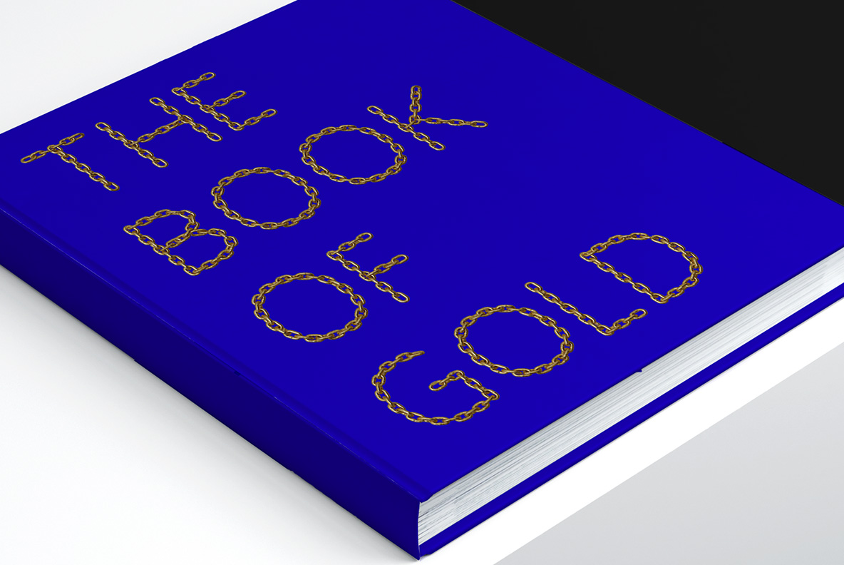 Blue Book cover with Gold Chain Font. Glamorous OpenType Typeface Made By Handmade Font