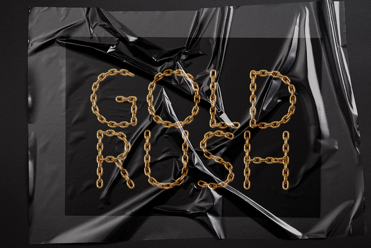 Black bag with the Gold Chain Font. Glamorous OpenType Typeface Made By Handmade Font