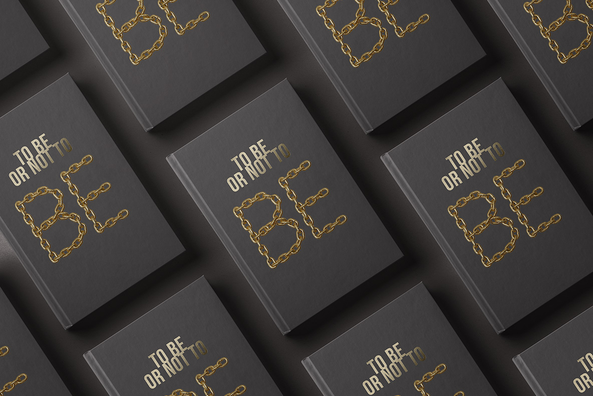 Black book cover with Gold Chain Font. Glamorous OpenType Typeface Made By Handmade Font