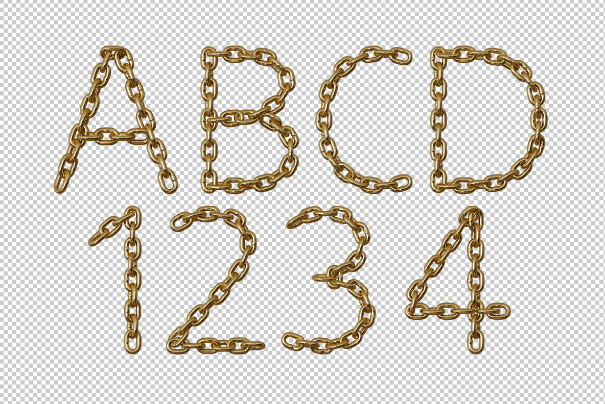 Photoshop test with Gold Chain Font. Glamorous OpenType Typeface Made By Handmade Font