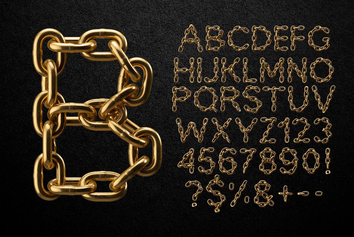Alphabet Golden Chain Font OpenType