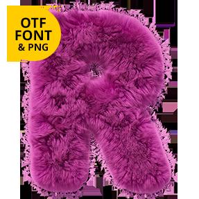 Pink Fur Passion Font Letter R. OpenType fur typeface