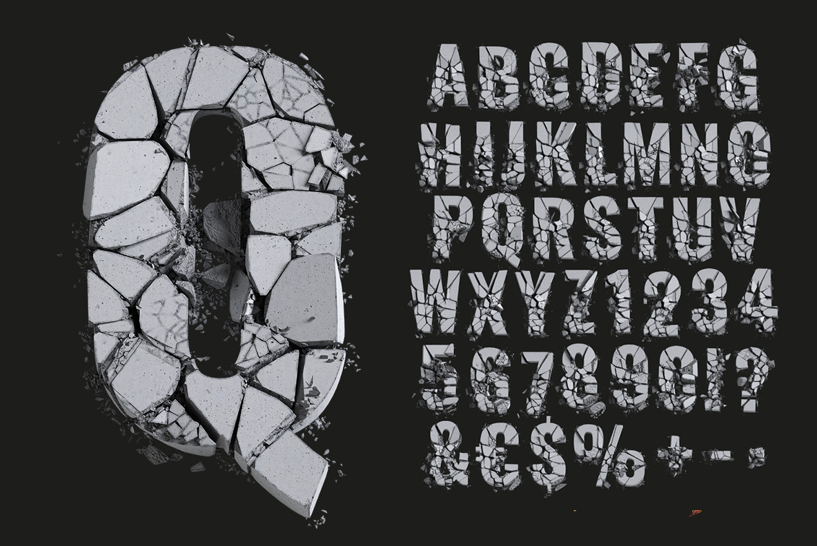 Concrete Font OpenType alphabet