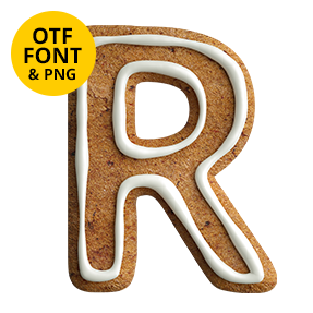 Letter R of the Gingerbread Sans Font. Christmas OpenType Typeface Made By Handmade Font