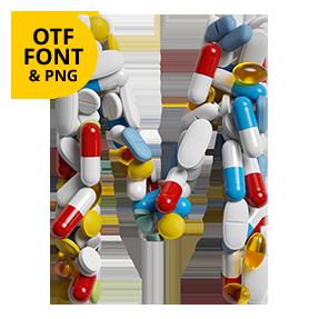 Pills Font OpenType Letter M