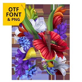 Flowers Wacomka Font OpenType Letter N SVG