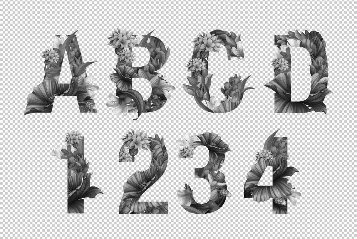 Wacomka Flowers Font OpenType Typeface SVG. Photoshop test