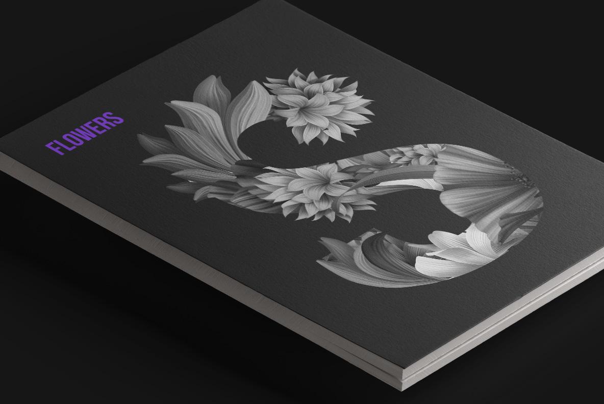Wacomka Flowers Font OpenType Typeface SVG. Magazine cover