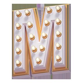 White Lamp Font Letter M