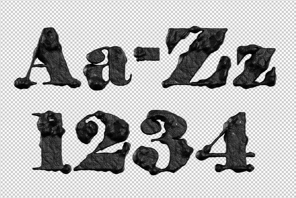 Black Stone Font OpenType Typeface SVG. Photoshop test of stone font