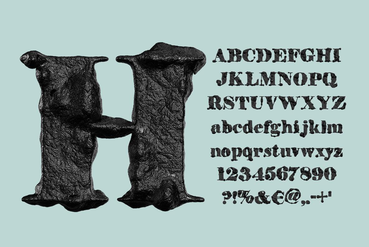 Black Stone Font OpenType Typeface SVG. Alphabet of stone font