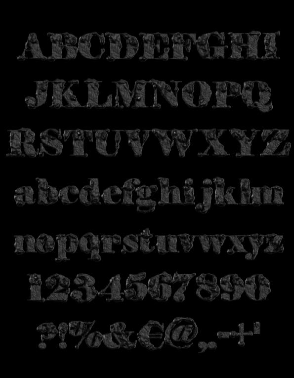 Black Stone Opentype Font Alphabet