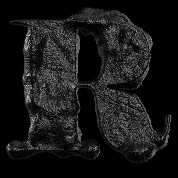 Black Stone Opentype Font Letter R