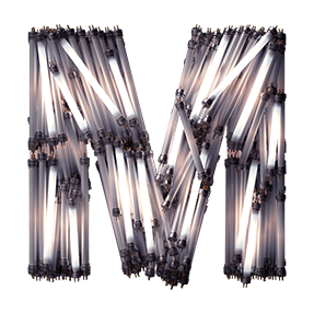 Fluorescent Lamp Font Letter M