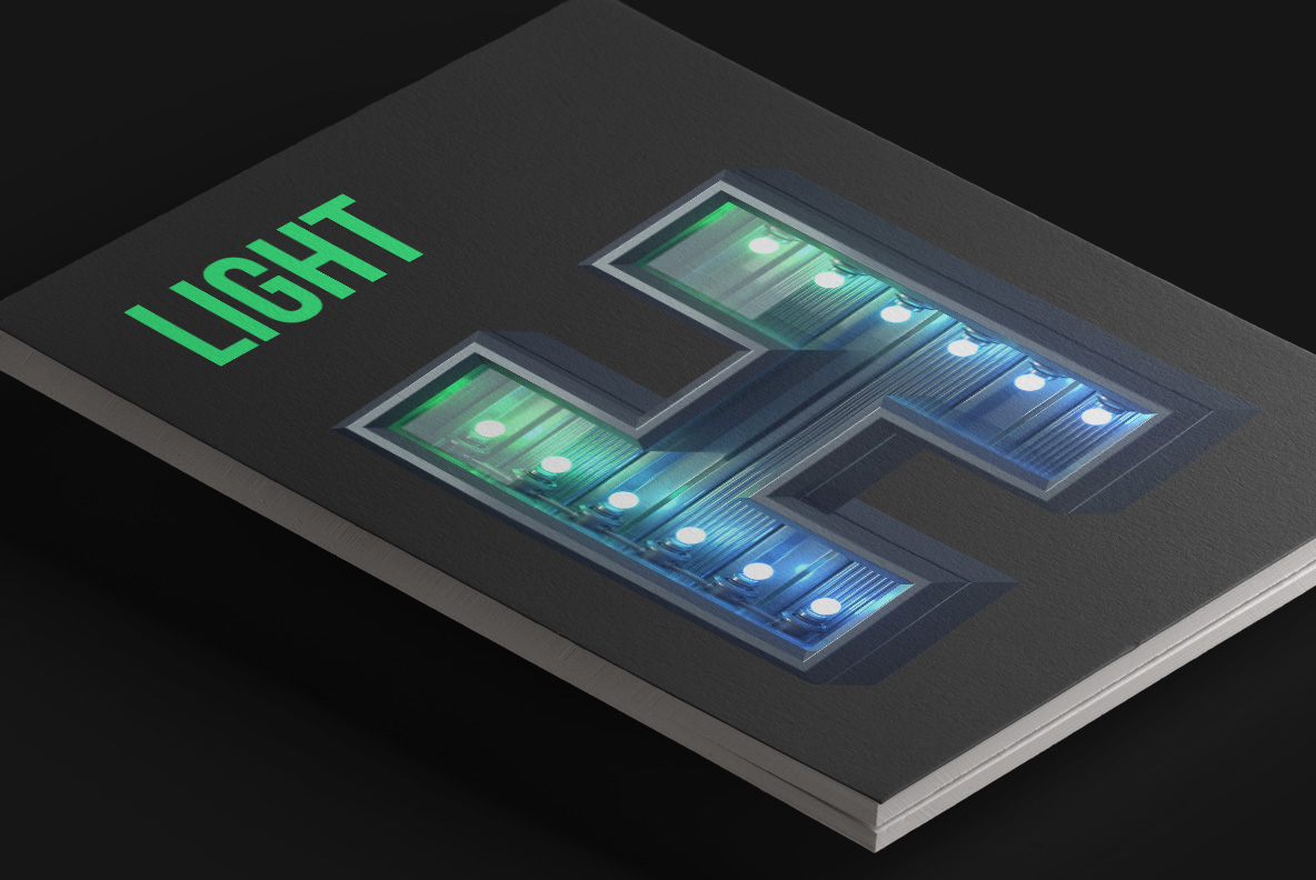 Magazine cover with Green Futuristic font