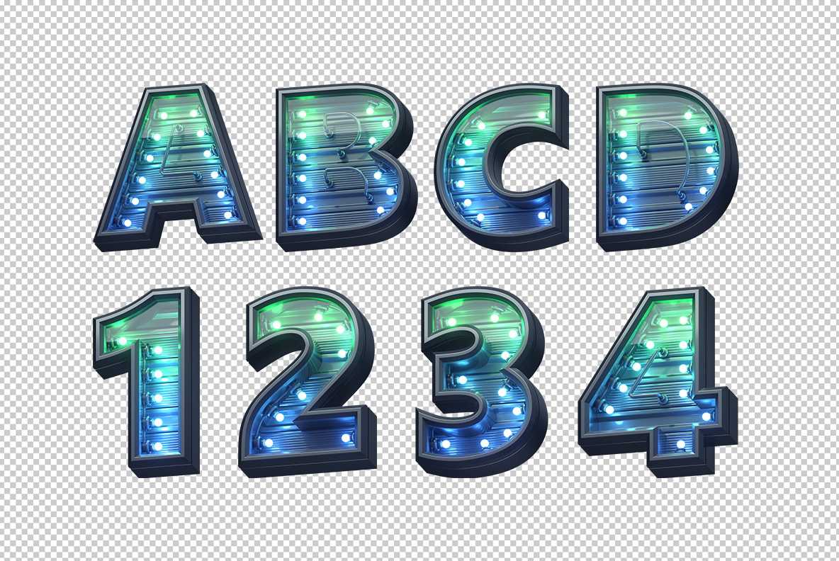 Photoshop test with Green Futuristic font