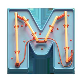 Toy Neon Font Letter M