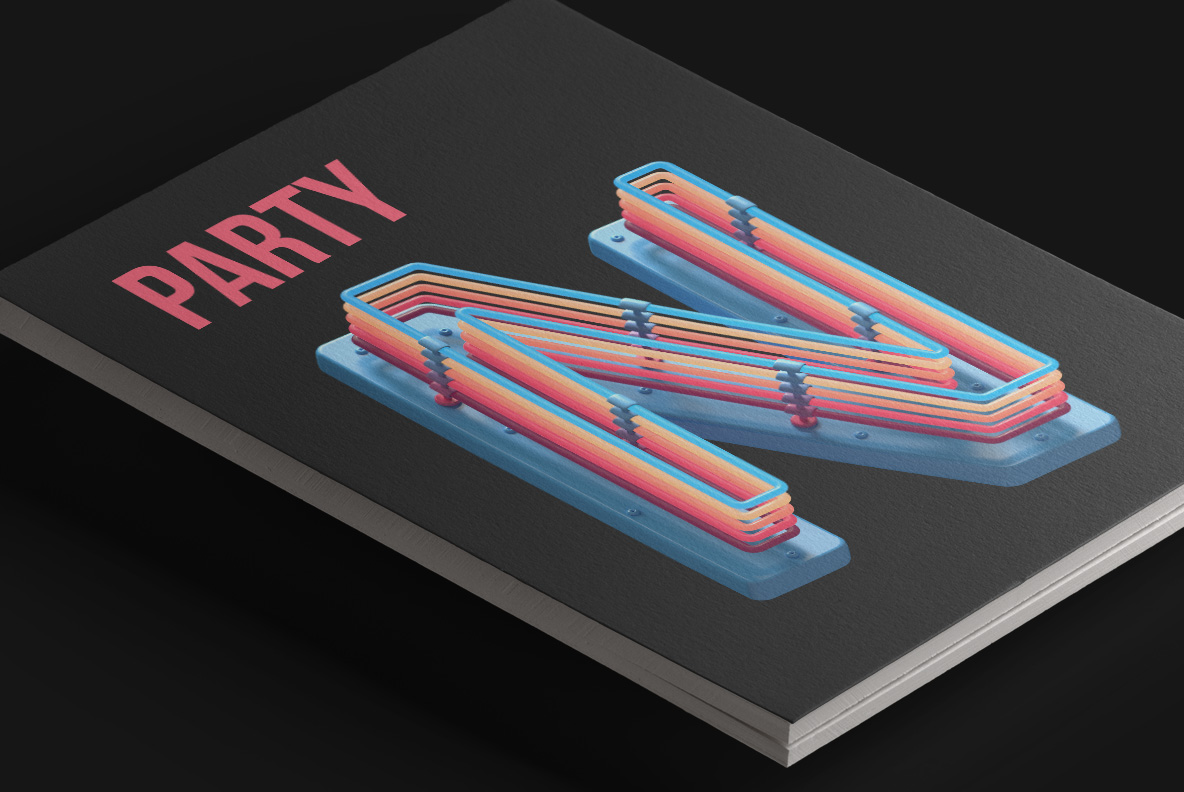 Magazine cover with Plastic Neon Font