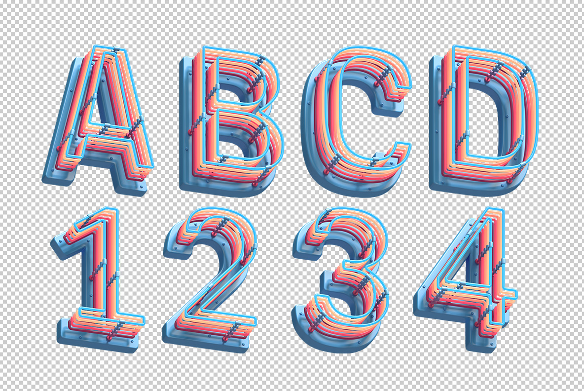 Photoshop test with Plastic Neon Font