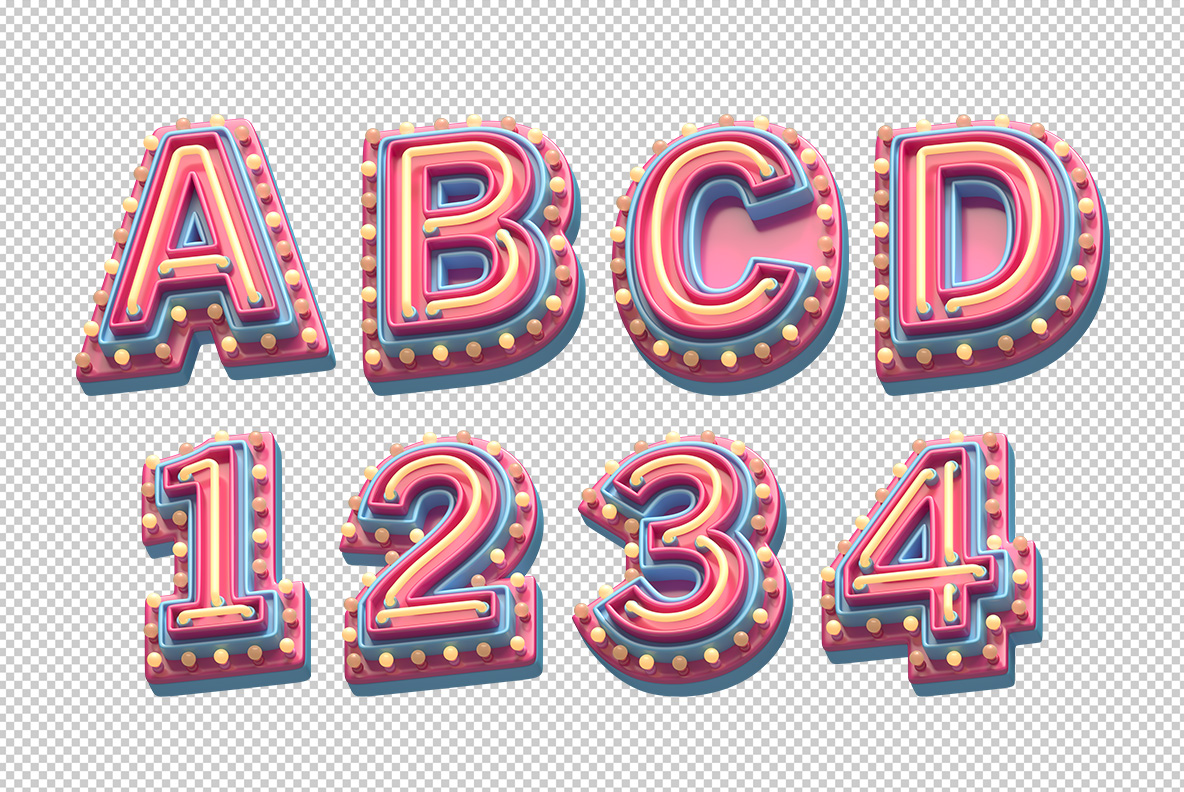 Photoshop mockup with Plastic Party Font