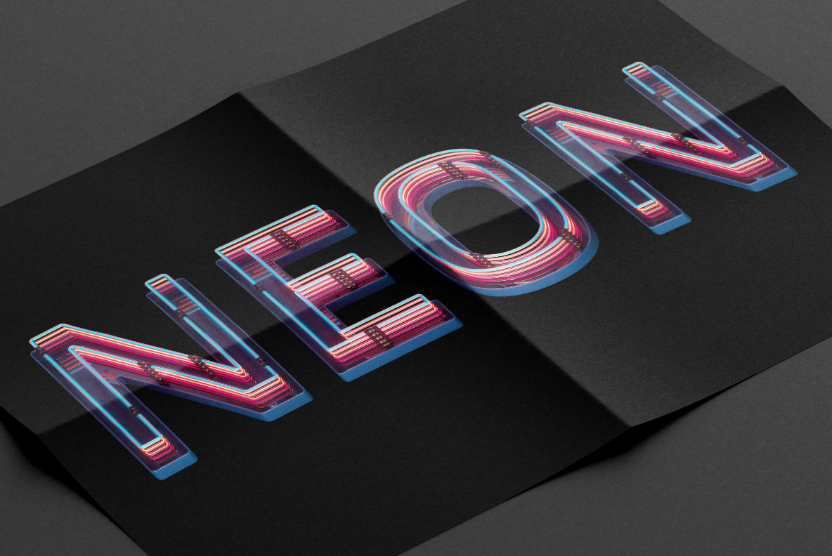 Black poster with Retro Neon Font