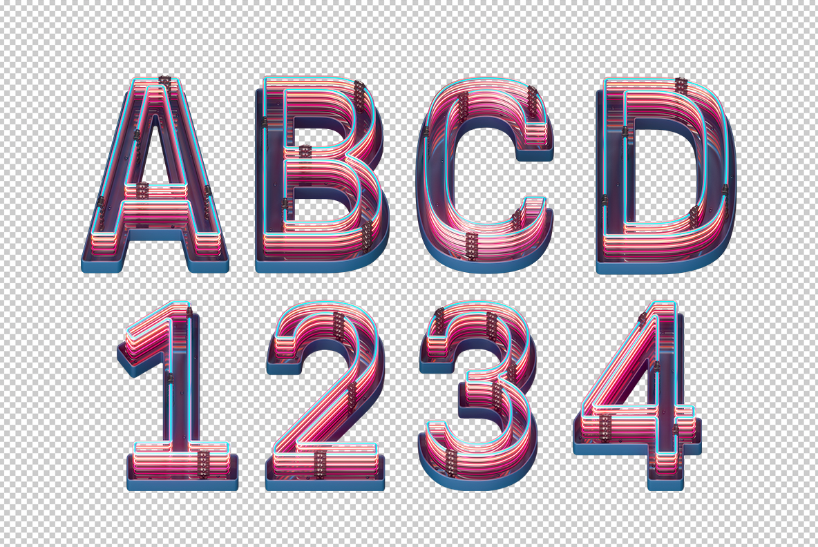 Photoshop test with Retro Neon Font