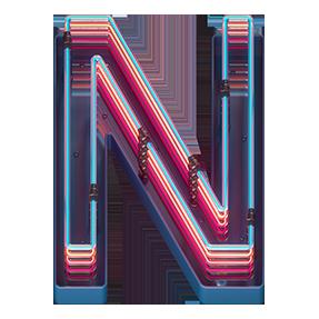 OpenType Retro Neon Font Letter N