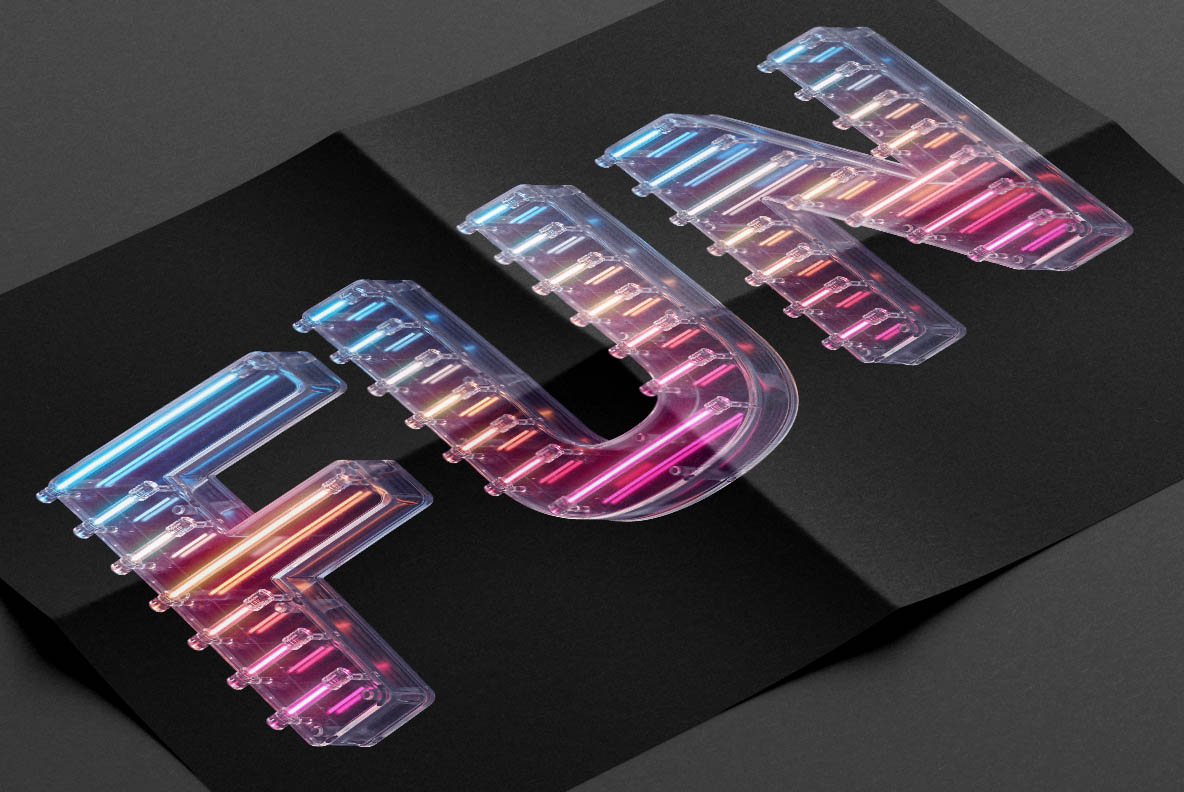 Poster with Neon Glass Font