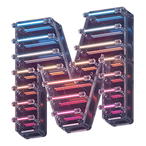 Preview of the Neon Glass Font Letter M