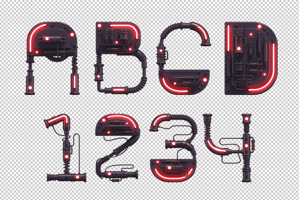 Photoshop test of the Cyber Toy Font