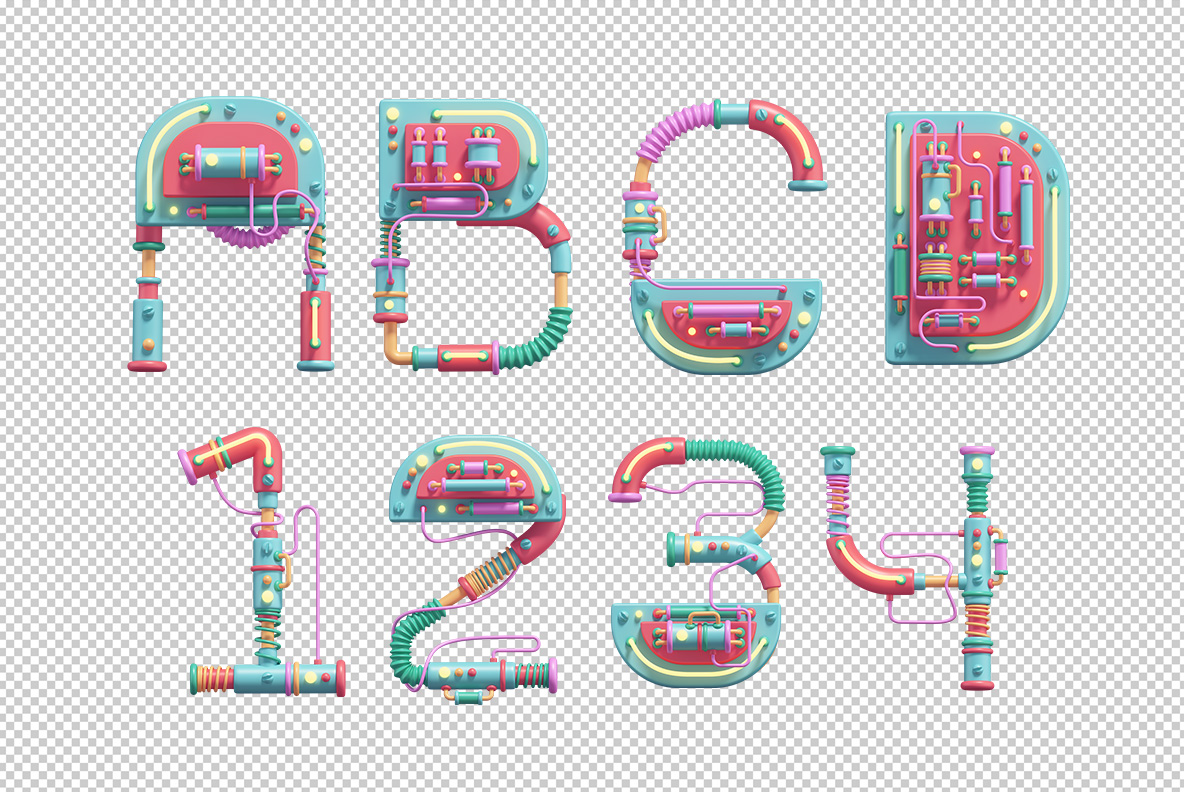 Photoshop test with the Cyber Toy Font